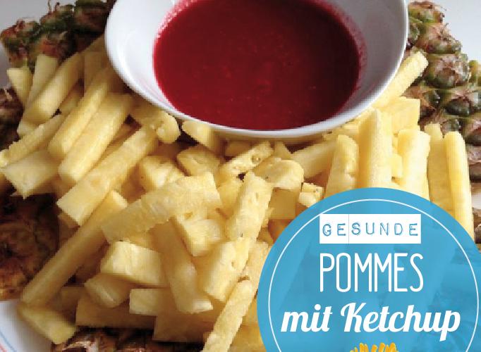 Gesunde Pommes mit Ketchup