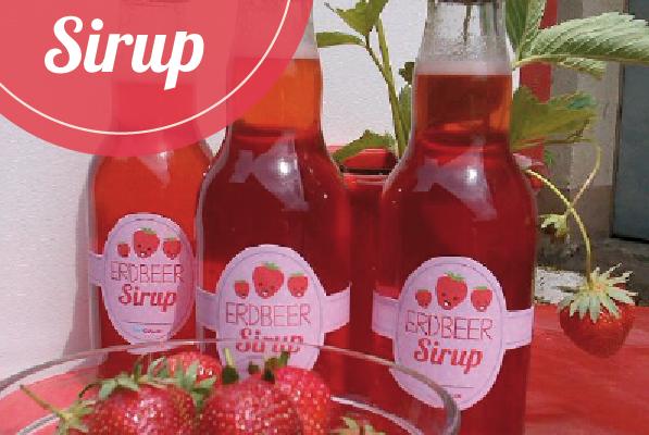 Erdbeer Sirup und kostenlose Banderolen