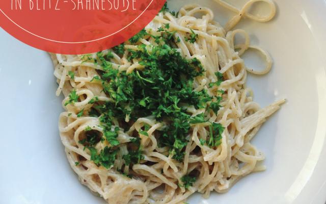 Spaghetti in Sahnesoße (wenns mal schnell gehen muss)