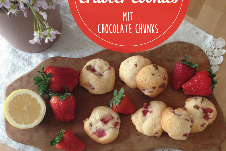 Erdbeer Cookies mit Chocolate Chunks
