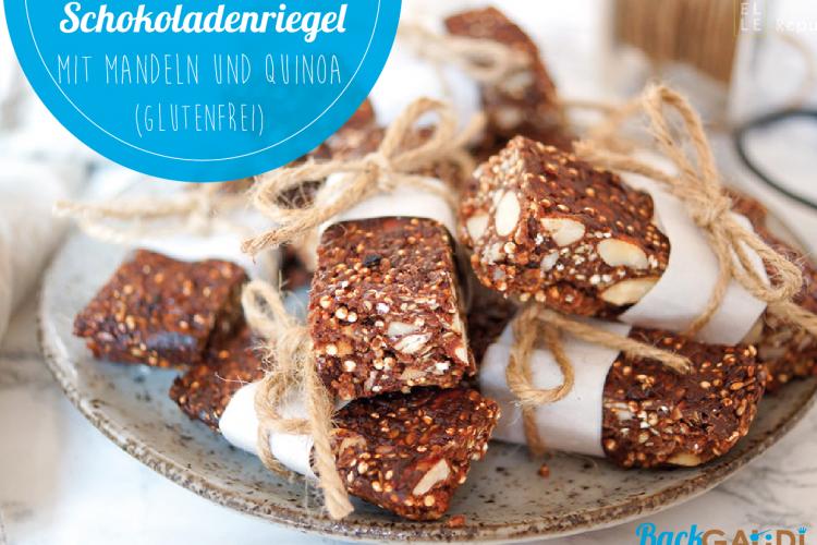 Gesunde Schokoladenriegel mit Mandeln und Quinoa (glutenfrei)