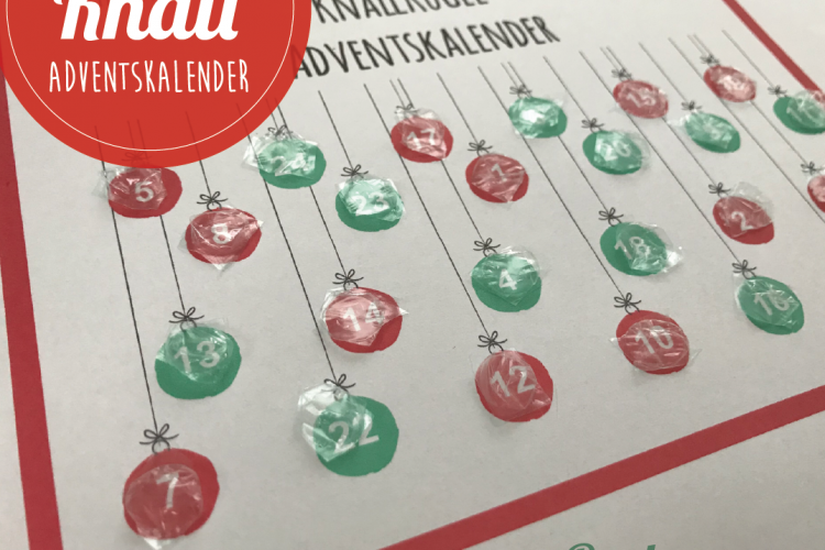 Knallkugel Adventskalender mit Luftpolsterfolie